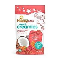 Happy Baby 奶油冻干蔬菜和水果溶豆零食 椰奶,草莓,覆盆子和胡萝卜 1盎司(28g)8包 - 包装可能会有所不同
