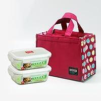 乐扣乐扣(lock&lock) 耐热玻璃保鲜盒 微波炉饭盒 便当盒餐盒 餐具两件套LLG424S904(430ml*2) 加红色便当包