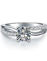 THREE MAN Superb 1 克拉 NSCD 仿钻戒指 4 爪镶女士订婚戒指 标准纯银