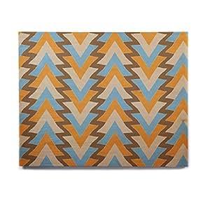 "KESS InHouse Julia Grifol ""我的蓝色三角形""水绿色橙色桦木墙壁艺术 11"" x 14"" JG1023AHW04"