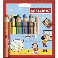 STABILO woody 3in1 水彩蜡笔,6支6色装带转笔刀