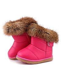 LONSOEN 女童靴子毛皮衬里冬靴鞋(幼儿/小童)
