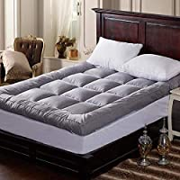 ADDOIL素色加厚立体羽丝绒床垫 纯色亲肤透气羽绒棉可折叠床褥子 分格充绒型垫被榻榻米床垫被褥 (90 * 200cm)