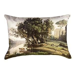 ArtVerse Jean-Baptiste-Camille Corot 意大利景观 x 50.8cm Pillow-Spun 涤纶, 35.56cm x 25.4cm 14 英寸 x 10 英寸 COR002P1420A
