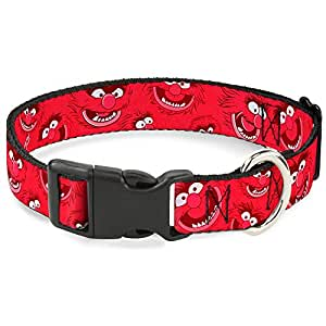 buckle-down 动物 Expressions 分散 reds 塑料夹项圈 NARROW MEDIUM - Fits 8-12 Inch (0.5 Inch WIDE)