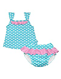 i play. Baby Girls' Tankini Set with Built-In Reusable Absorbent Swim Diaper