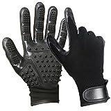 yardsky 1 双宠物*手套左右除毛器适用于猫狗和马 黑色