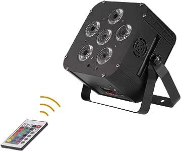 Lixada DJ 灯 108 瓦 RGBWAP+ 可充电 + 内置无线 DMX 接收器,6 个 gobos Par 灯 6/10 频道舞台效果照明带遥控控制器