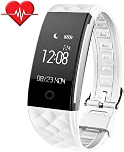 SinoPro 健身追踪器,心率监视器智能手镯,IP67 防水健身腕带带 OLED 触摸屏,步长追踪器,*监测,呼叫提醒 iPhone Android 智能手机 白色