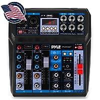 专业无线 DJ 音频混音器 - 6 通道蓝牙兼容 DJ 控制器混音器 w/DSP 效果,USB 音频接口,双 RCA 输入,XLR/1/4 麦克风输入,耳机插孔 - Pyle PMX44T.5