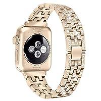 TechCode iWatch 手链,不锈钢表带闪亮水钻替换金属饰品可调节腕带女士手表表带配件适用于 Apple iWatch 浅金 Series 3/2/1, 38mm CA-PA-CF-PGWZ