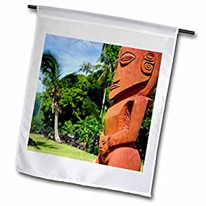 danita delimont–TAHITI–法属玻里尼西亚,大溪,提基 TEMPLE 公园–OC cmi0122–cindy Miller Hopkins–旗帜 12 x 18 inch Garden Flag
