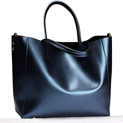 PINGORA 女包 2019 新款欧美时尚纯色简约大容量百搭高档真皮单肩包 手提包 托特包 可装手提电脑