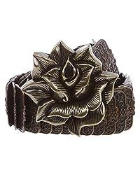 4.45 厘米大码 3D 玫瑰花雕刻弹性亮片金属弹力腰带