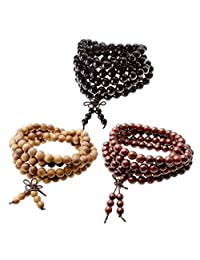Jovivi 3-5 件天然木佛教祈祷 108 颗珠西藏玛玛雅冥想手链项链 Set #4(3pcs)