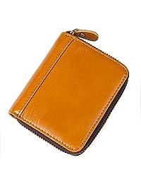 Everdoss 男士真皮卡包 头层牛皮油蜡皮 拉链手风琴款 证件银行卡名片零钱钥匙包皮夹卡夹 时尚复古休闲