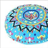 印度* - 60.96 厘米彩色绣花圆形地形座冥想枕套靠垫抱枕波西米亚波西米亚风枕套 Blue #G 24 in. FPL-ARI-G-24-LBLU-1