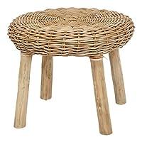 Creative Co-op 45.72cm H 手工编织藤木腿凳,米色