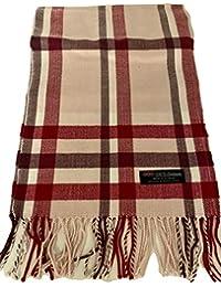 * 正品 Real Cashmere *格子围巾 - 中性款(男式/女式) - 30.48 厘米 x 182.88 厘米长围巾 - 生日礼物