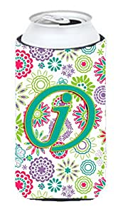 Caroline's Treasures CJ2011-JTBC Letter J Flowers Pink Teal Green Initial Tall Boy Koozie Hugger, Multicolor