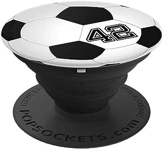 足球运动员 #42 球衣编号 42 足球小工具礼物 - 适用于手机和平板电脑的 PopSockets 抓握和支架260027  黑色