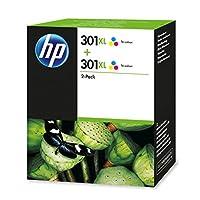 HP 惠普 301 黑色原装打印机墨盒 适用于惠普 Deskjet 打印机 HP 惠普 ENVY 打印机 HP 惠普 Photosmart 打印机 XL Multipack Rot/Blau/Gelb