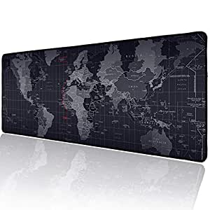 Marphe 大型游戏鼠标垫缝边扩展垫桌垫鼠标垫长防滑橡胶鼠标垫 世界地图