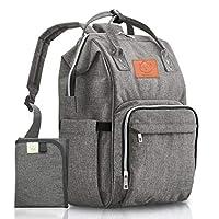 婴儿尿布包背包 – 多功能防水旅行婴儿包,适合妈妈、爸爸、男士、女士 – 适合男孩的大孕妇包包 – 耐用、时尚 – 包括尿布垫(经典灰色)