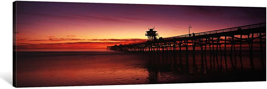"iCanvasART 1 Piece Silhouette of a pier, San Clemente Pier, Los Angeles County, California, USA Canvas Print by Panoramic Images, 48 x 16""/0.75"" Deep"