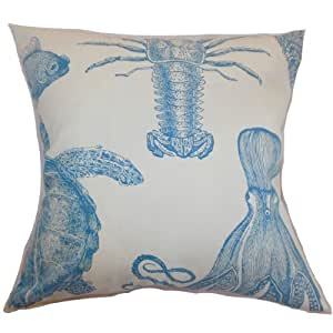 The Pillow Collection Ilaka Aquatic Pillow, Aqua