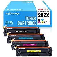 MYCARTRIDGE 兼容惠普 CF500X CF501X CF502X CF503 X 202X 墨盒适用于 HP Color LaserJet Pro M254、MFP M280、MFP M281 系列打印机(黑色、青色、黄色、品红,4件装)