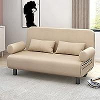 多功能可折叠沙发床简约现代小户型沙发卧室单双人折叠床榻榻米棉麻布艺沙发 (卡其色, 120cm)