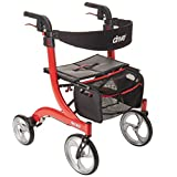 DriveMedicalNitroEuroStyleRedRollatorWalker,老人便携式轮椅车,红色