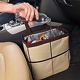 Creathing Lab 汽车垃圾袋悬挂 | 大号,米黄色 - 带可调节背带 | 自动垃圾桶带储物袋