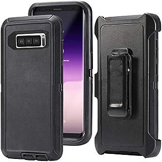 兼容 Galaxy S10 手机壳,HONTECH 重型盔甲 3 合 1 防震系列防尘保护套带皮带夹皮套 黑色