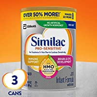 Similac 雅培 Pro-Sensitive 婴儿配方奶粉,含铁,含2'-FL HMO,婴儿配方奶粉,粉末,34.9盎司(989g),3罐装(一个月供应量)