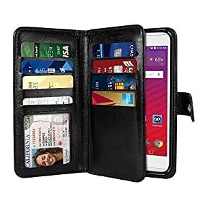 """NextKin LG Tribute HD LS676 X 风格 5"""" L53B L56VL 手机壳,高级 PU 皮革双钱包 TPU 手机套,2 个大内袋双盖隐私,9 个卡槽磁性开合 - 紫色PDLGLS676FH7027 黑色"""