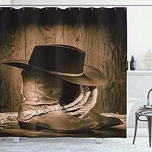 淋浴帘由 ambesonne ,织物浴室装饰品钩