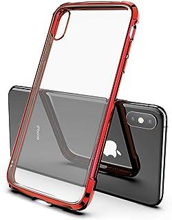 兼容 iPhone X 10 手机壳、iPhone Xs 手机壳、HONTECH 透明柔软 TPU 超薄电镀防震后盖 红色
