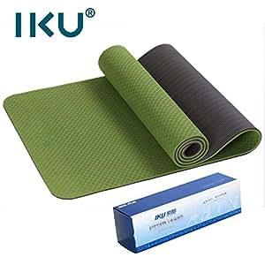 IKU 双层标准宽tpe瑜伽垫 加厚加长保护关节瑜珈垫 环保净味防滑瑜伽健身垫子 183cm*61cm*8mm 梦幻绿 送背袋