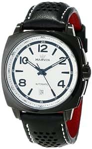 """Marvin 男士 M119.23.24.84""""Malton 160""""不锈钢自动手表黑色皮革表带"""