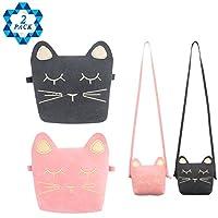 SOTOGO 2 件装小女孩钱包可爱猫单肩斜挎包(粉色和黑色)