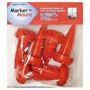 Rebound Driveway Marker 14-001-06 球位标底座桩,6 支装 橙色 1 Pack of 6