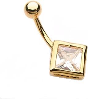 自由时尚钻石 CZ 镀金 316L *钢脐环