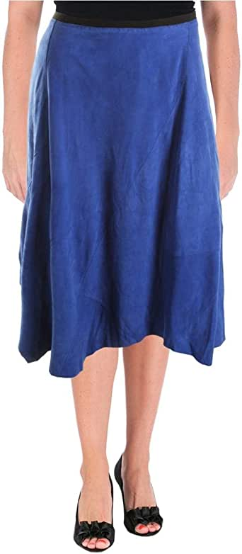 Elie Tahari 女式 Sachi 绒面革不对称裙子 浅蓝色 绿洲蓝 X-Small