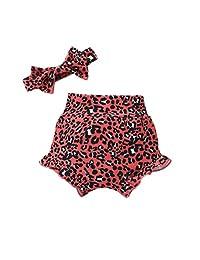 女宝宝豹纹短裤棉婴儿儿童褶边短裤+头带夏季服装套装