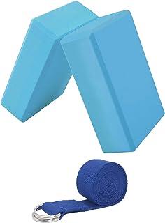 CWM 瑜伽砖 2 件装带 D 形环瑜伽带套装高* EVA 泡沫瑜伽砖适用于瑜伽、冥想、普拉提、拉伸