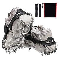 Audew 19 Spikes Crampons 冰雪抓握牵引鞋钉系统*保护适合散步、慢跑或在雪冰上徒步(适合 S/M/L/XL/XXL 码鞋/靴子)