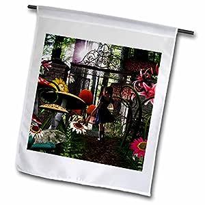 renderly Yours Fantasy–爱丽丝 AT wonderlands 花园门–旗帜 12 x 18 inch Garden Flag