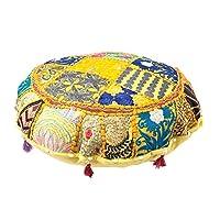 印*安渥太兰 Pouf 封面装饰客厅脚凳 波西米亚椅套 手工棉质传统圆形 Pouf Ottomans 舒适刺绣拼贴工作地板垫